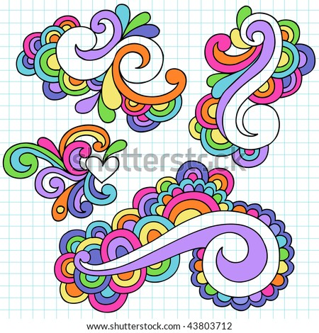 Hand-Drawn Abstract Swirls Psychedelic Notebook Doodles on Lined Paper Background- Vector Illustration