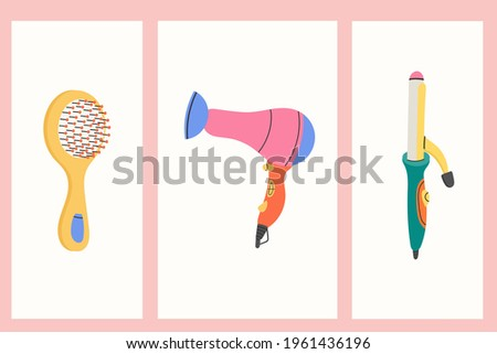 Hand Drawn Accessories and Appliances for Hair Care, Hair Style and Beauty. Doodle Hairbrush, Hairdryer, Curling Iron.Barber's Tools in Flat style. Vector Illustration.