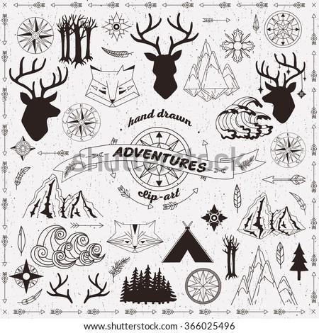 Hand drawn Adventures Clip-art #366025496