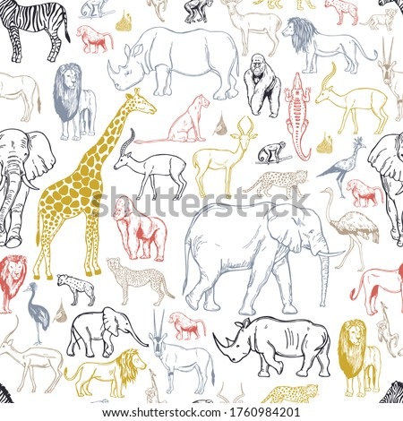 hand drawn african animals and