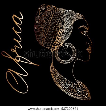 hand drawn african woman in