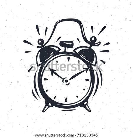 hand drawn alarm clock isolated