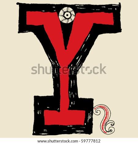 hand drawn alphabet, doodle Y