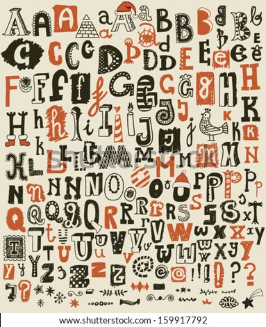 Hand Drawn Alphabet Letters and Symbols - Doodle ABC sets with most common keystrokes: question marks, exclamation points, stars,