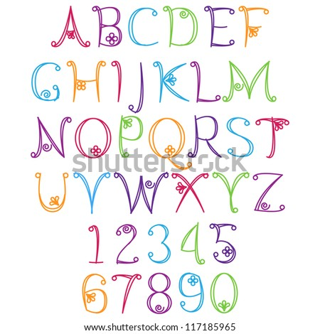 Hand Drawn Alphabet - Matching Letters/Numbers In Portfolio Stock ...