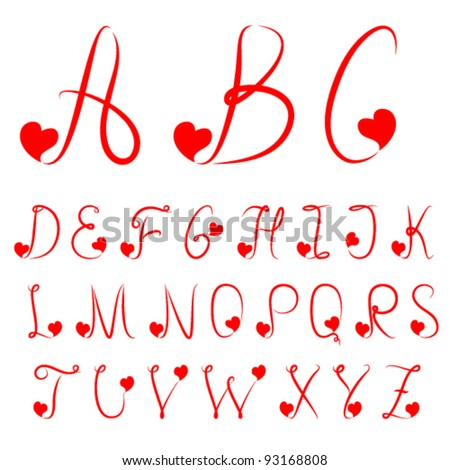 Hand drawn alphabet of red color with hearts