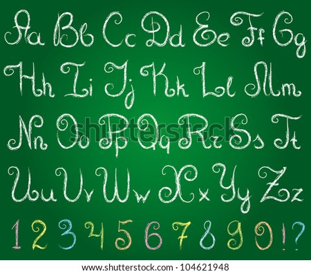 hand drawn alphabet on a green chalkboard