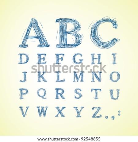 Hand drawn alphabet set - vector illustration