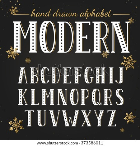 Hand drawn alphabet. Uppercase letters and symbols on chalkboard. Handdrawn typography. Modern font.