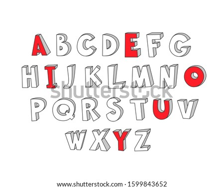 Hand drawn alphabet with red colored vowels. Funny childly doodle style. Template for coloring. Vector EPS 10