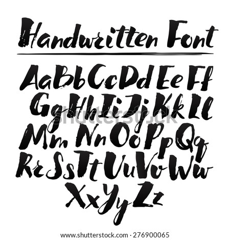 hand drawn alphabet written