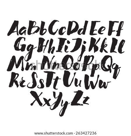 hand drawn alphabet written