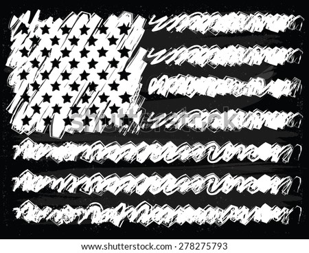 Hand Drawn American Flag on Chalkboard Background
