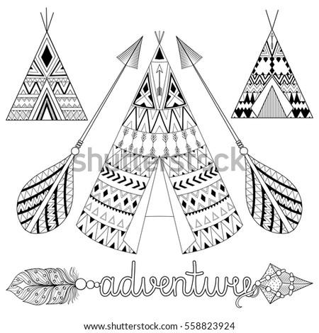 hand drawn american native...