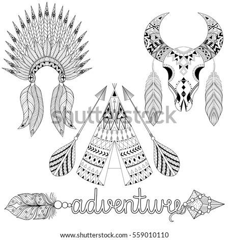 Hand drawn American native wigwam, warbonnet, animal skull with ethnic ornamental elements, adventure arrow with feathers. Teepee bohemian design. Vector illustration in zentangle tribal tattoo style.
