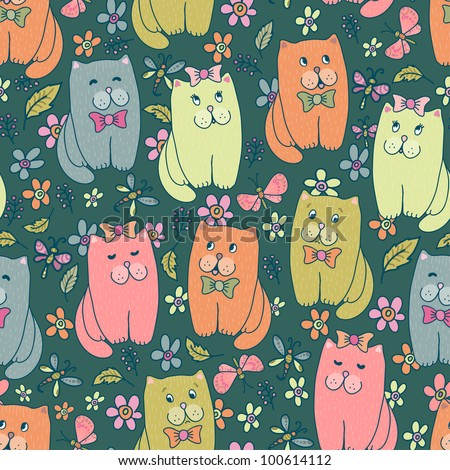 Hand drawn amusing little kitten on meadow vector seamless pattern. Made in  clear and cheerful tones