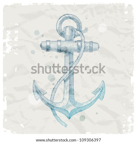 Hand drawn anchor on grunge paper background - vector illustration