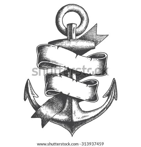 Hand Drawn Anchor with ribbon