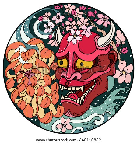 Hand drawn and Asian tattoo design,Oni mask with Sakura and Peony flower in circle.colorful halftone ストックフォト ©