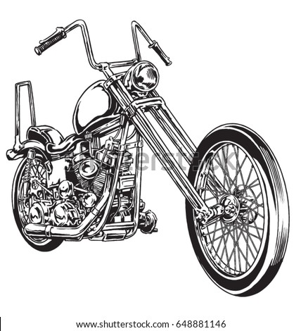 Hand drawn and inked vintage American chopper motorcycle Stock photo ©