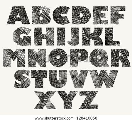 Hand drawn and sketched bold font, vector sketch style alphabet.