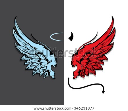hand drawn angel and devil wings