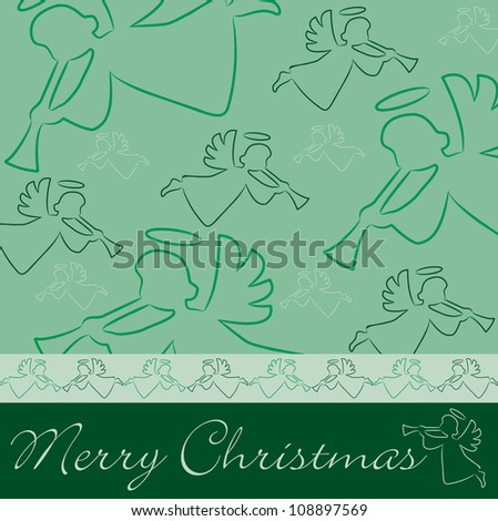 "Hand drawn angel ""Merry Christmas"" card in vector format."