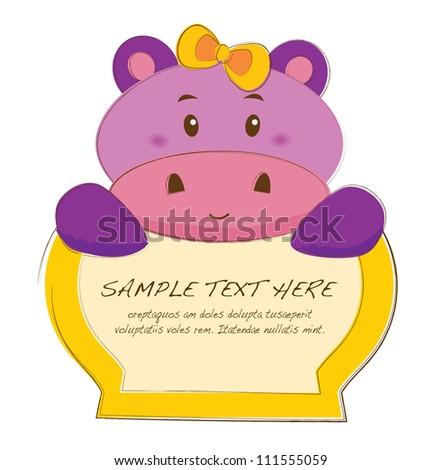 hand drawn animal frames series(hippo)