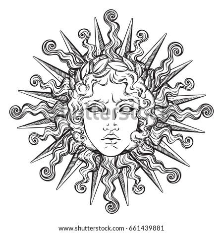 hand drawn antique style sun