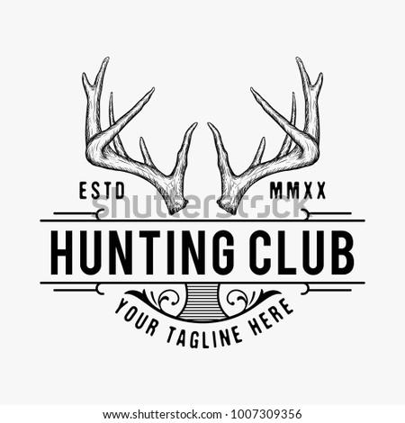 hand drawn antler hunting logo