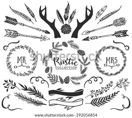 Hand drawn antlers, bursts, arrows, ribbons and frames with lettering. Rustic decorative vector design set. Vintage ink illustration.
