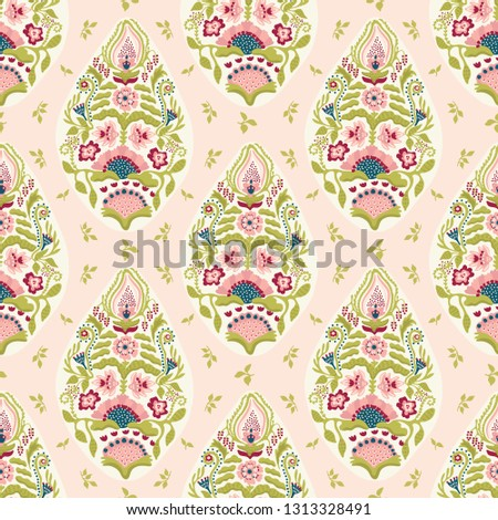 Hand drawn arabesque floral paisley damask illustration. Seamless vector pattern all over print. Traditional persian indian flower foulard drop motif.
