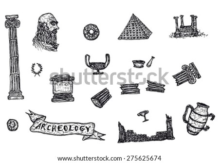 hand drawn archeology icons set ...
