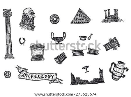 hand drawn archeology icons set ...