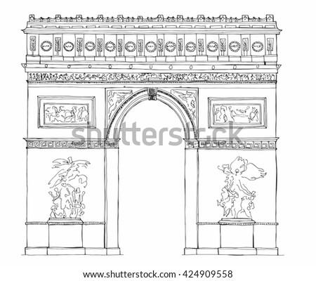 Hand drawn architecture sketch of Arc de Triomphe - Triumphal Arch - Paris France vector