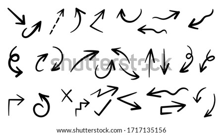 Hand drawn arrow mark icons vector