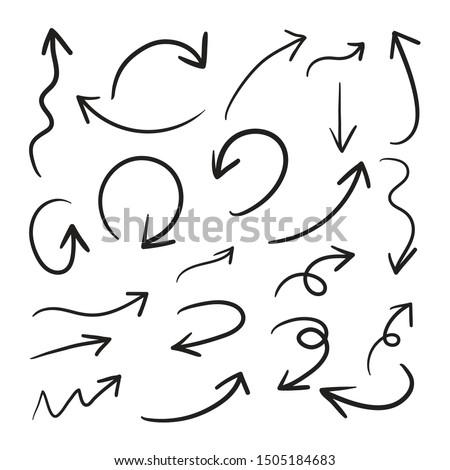 Hand drawn arrow vector icons set.