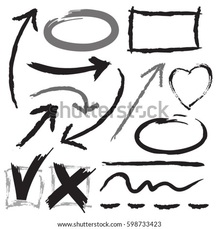 Hand drawn arrows and graphics elements in black and gray. Stylish elements for design. Vector illustration.