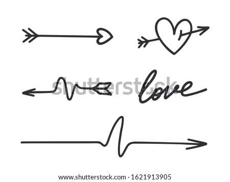 Hand drawn arrows. Black arrows. Cupid's arrow. Vector arrows set.  Valentines day symbol. Heart icon. Hand drawn doodle. Love sign. Pointers arrows. Archery. Direction signs. Arrow with feather.