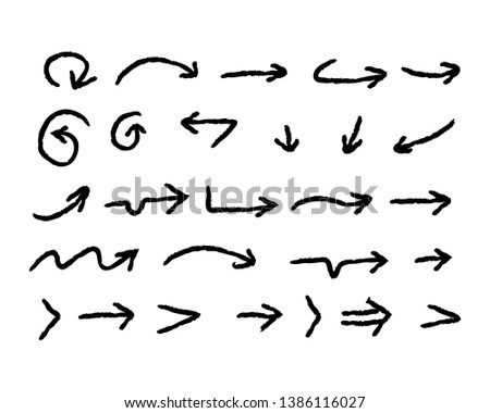 Hand drawn arrows, doodle arrow vector set collection #1386116027