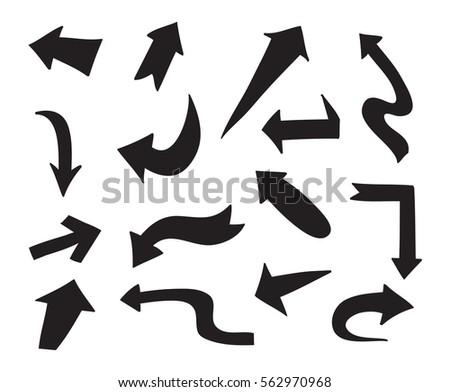 Hand drawn arrows.Doodle arrows set.Vector illustration.