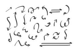 Hand drawn arrows doodle direction mark. Handmade sketch symbols set on a white background. vector illustration graphic design elements.