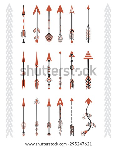 Hand drawn arrows graphic set. Indian culture.