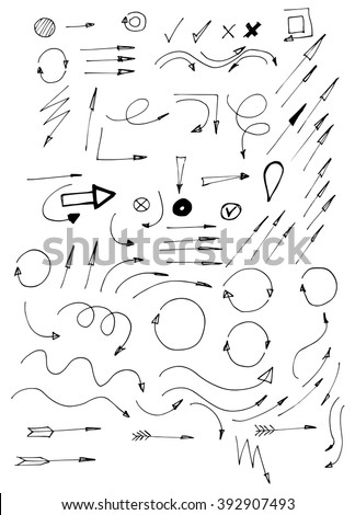 hand drawn arrows icons #392907493