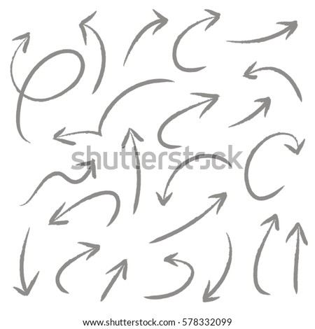 Hand drawn arrows in gray. Stylish elements for design. Vector illustration.