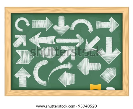 Hand drawn arrows on green blackboard. vector eps10 illustration
