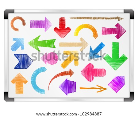 Hand drawn arrows on whiteboard, vector eps10 illustration