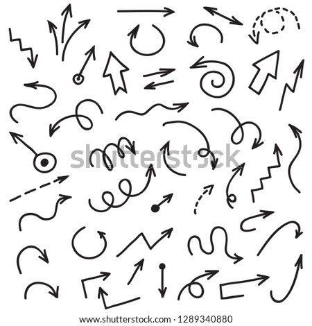 Hand drawn arrows. Scribble and helix arrow, sketchy ink arrowheads vector set