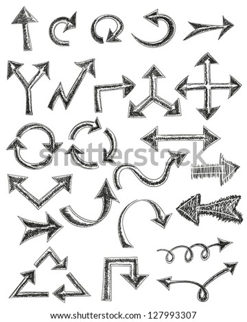 Hand drawn arrows set in vector - stock vector