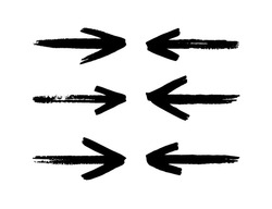 Hand drawn arrows set isolated on a white background. Brush stroke. Grunge texture.